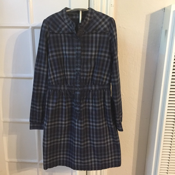 sessun Dresses & Skirts - Sessun plaid Madewell navy blue dress M